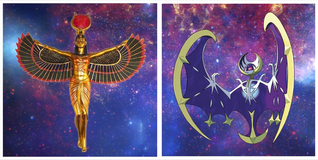The Egyptian Goddess Isis compared to the Legendary Pokemon Lunala