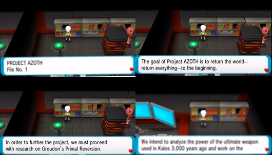 An Image of the character Brendan reading books about Project AZOTH in Omega Ruby and Alpha Sapphire.