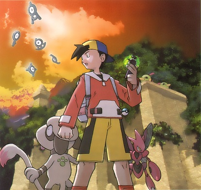 Official art of Pokémon Gold and Silver protagonist at Ruins of Alph